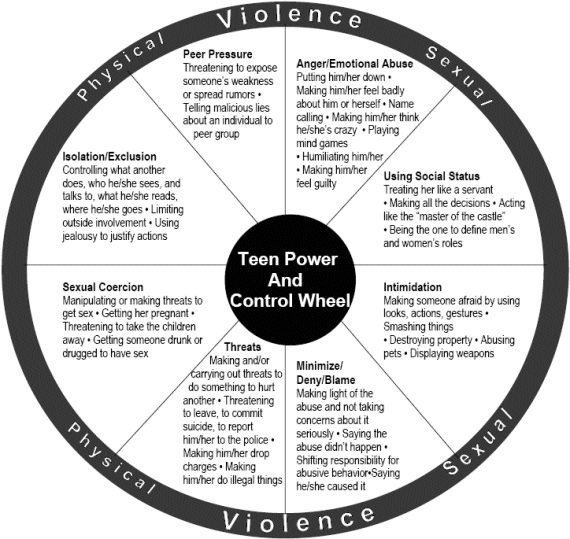 Teenage Power and Control Wheel showing how power and control are used in relationships